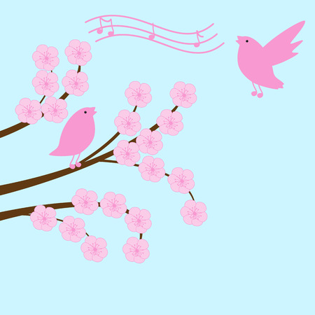 Blossom sakura branch with singing birds and notes Vector
