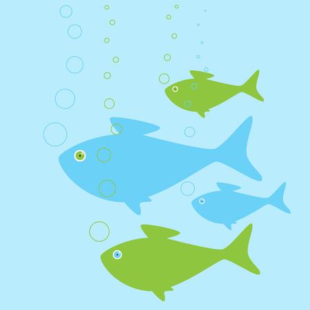 depth: United fish family swimming in depth of water