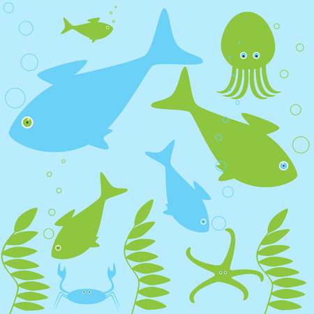 inhabitants: Scene from different sea inhabitants life Illustration