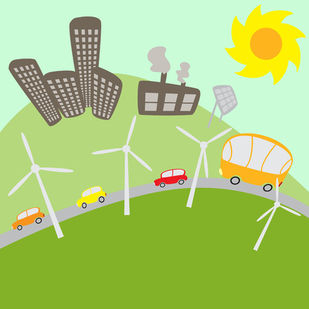 solar battery: Urban landscape with windmills and solar battery