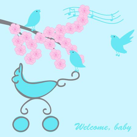 Baby boy greeting card with pram, blossom sakura branch and singing birds Vector