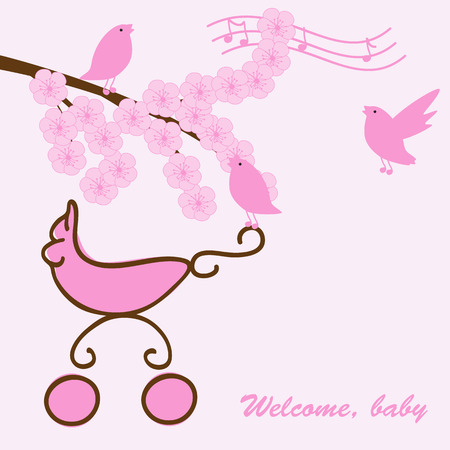 Baby girl greeting card with pram, blossom sakura branch and singing birds Vector