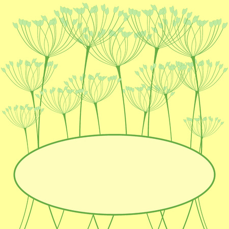 an inflorescence: Greeting card with fennel inflorescence and space for text Illustration
