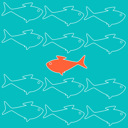 career success: Business concept illustration with goldfish moving against stream Illustration