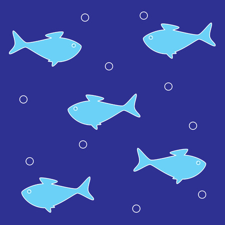 Background with several blue fish can be used for decoration purposes such as wallpaper, fabric, web page, greeting card, menu and so on Vector