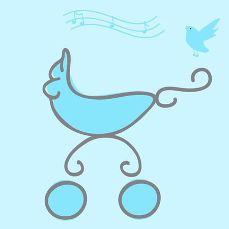 singing bird: Baby boy arrival card with a pram and singing bird