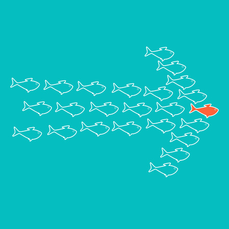 celadon: School of cute celadon fish swimming in shape of arrow behind its leader. Concept of success and business achievements