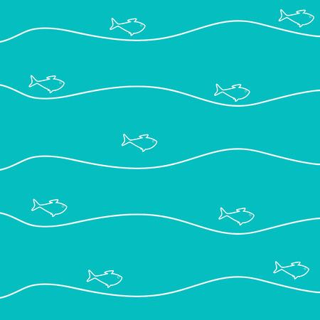 Aquamarine background with celadon fish swimming in white stylized waves