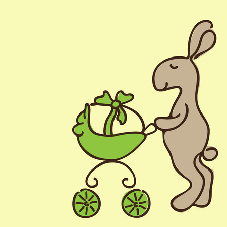 neonatal: Cute brown Easter bunny with yellow egg in green pram on yellow background. Can be used for Easter or baby shower cards