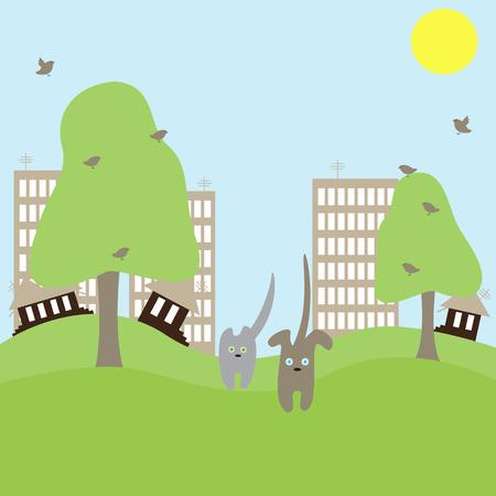 귀여운 고양이 개는 큰 마을에서 자연으로 달려갑니다. 도시 문제의 개념 그림