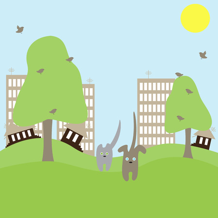 Cute cat and dog run away from big town towards nature. Concept illustration of urban problems Illustration