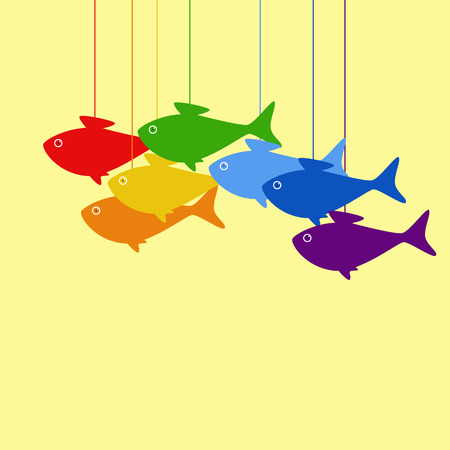 multiple birth: Baby announcement card with hanging rainbow colored fish