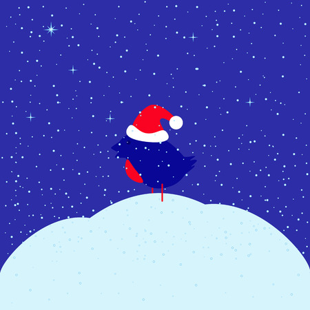 snowdrift: Greeting card with bullfinch in red Christmas hat sitting on snowdrift under snowfall and dark blue evening sky with glittering stars with space for your own text. May used as Christmas, New Year or baby shower greeting card Illustration