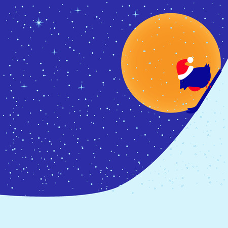 down under: Greeting card with bullfinch in Christmas hat skiing down hill in bright moon evening under snowfall and space for your own text Illustration