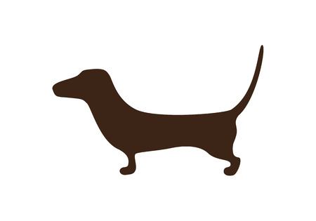 yelp: Sketched dachshund brown silhouette isolated on white background