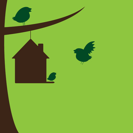 happy family house: Bird family and their new house hanging on tree branch