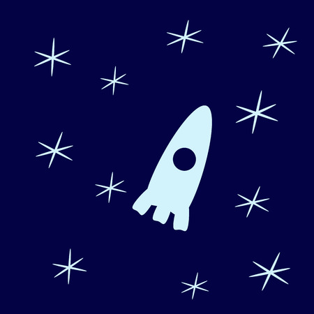 childlike: Stylized dark-blue childlike cosmic background with light-blue stars and spaceship with illuminator Illustration