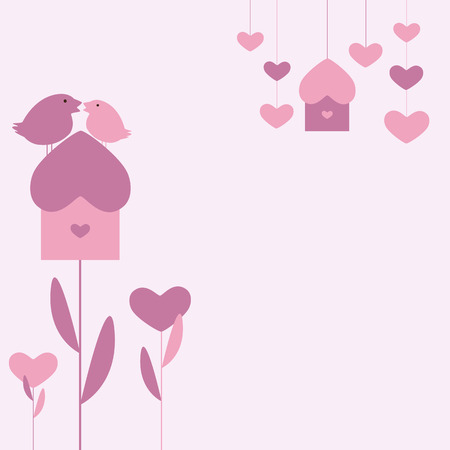 nesting: Saint Valentine`s or marriage day pink background with two birds sitting on growing as flower nesting box, growing hearts and hanging nesting box and hearts