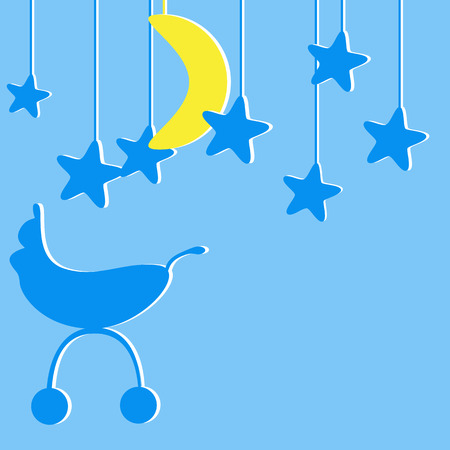baby announcement card: Baby boy announcement card with blue colored pram and several blue stylized stars and one yellow moon hanging over it Illustration