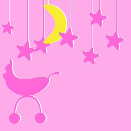 neonatal: Baby girl announcement card with pink colored pram and several pink stylized stars and one yellow moon hanging over it