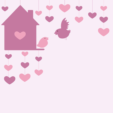 nesting box: St Valentine`s day card with hanging hearts and nesting box and two birds
