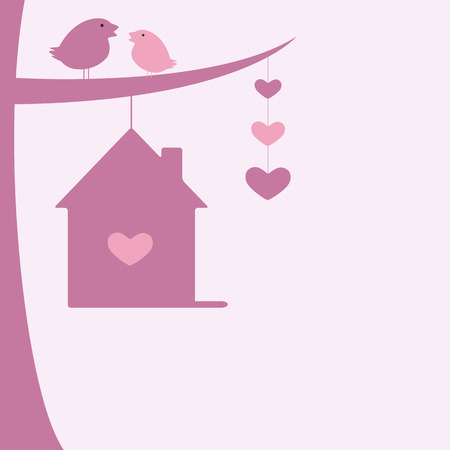 nesting: Valentine`s day background with two birds sitting on tree branch and hanging nesting box and hearts