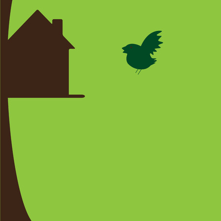 nesting box: Bird flying to his own nesting box on tree. New house concept