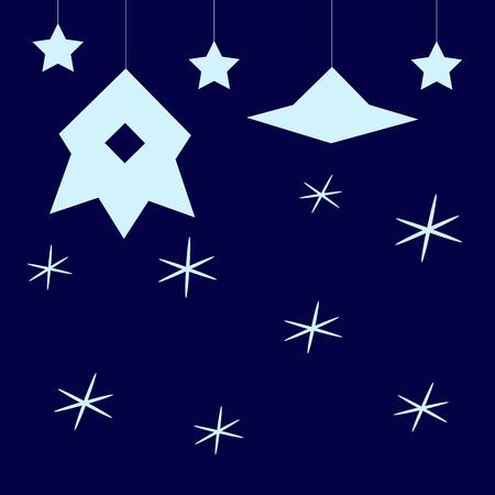 disco volante: Stilizzato sfondo blu cosmico infantile scuro con la luce delle stelle blu, appesi astronave con illuminatore e disco volante Vettoriali