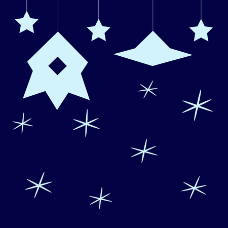 flying saucer: Stylized dark blue childlike cosmic background with light blue stars, hanging spaceship with illuminator and flying saucer Illustration