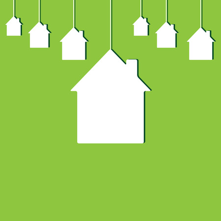 new house: White houses with dark-green shadows hanging on green background. New house concept