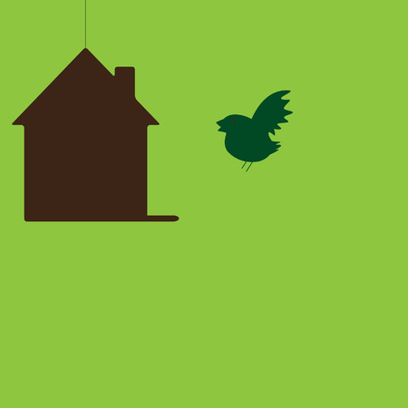 new house: Bird flying to his own hanging house. New house concept