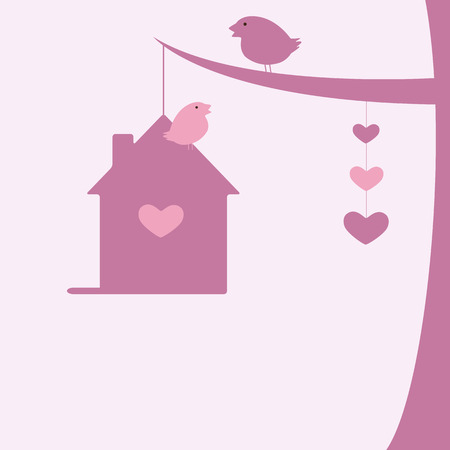 nesting: Background with two birds sitting on tree branch and nesting box and hanging hearts
