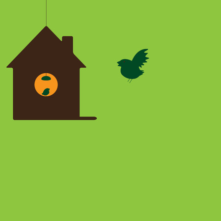 Bird flying to his own hanging house with little nestling sitting on round window illuminated with hanging lamp