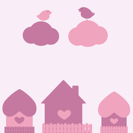 St Valentine`s day card with two birds sitting on clouds and three houses Vector