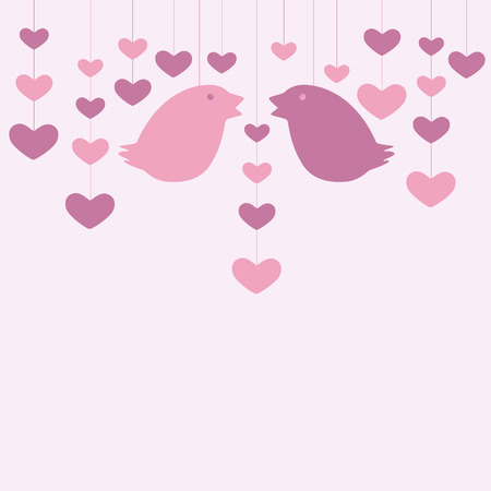 St Valentine`s day card or marriage invitation decorated with two hanging birds silhouettes and hearts garlands Vector