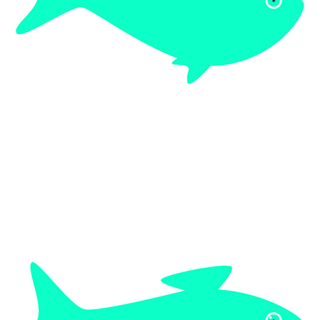 half fish: Half fish pattern on white background with space for text