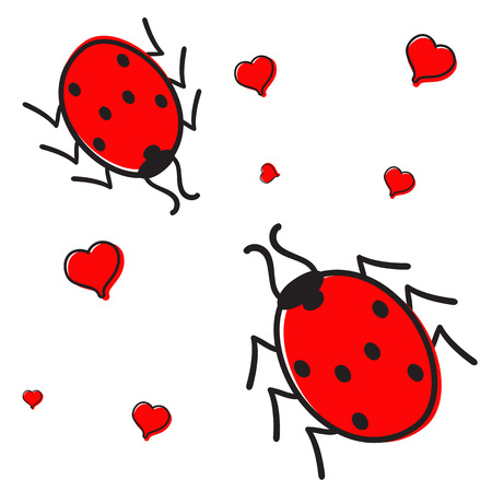 colorific: Ladybugs in love with hearts isolated on white