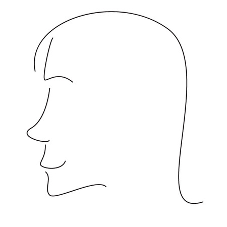upturned: Stylized woman profile with snub nose