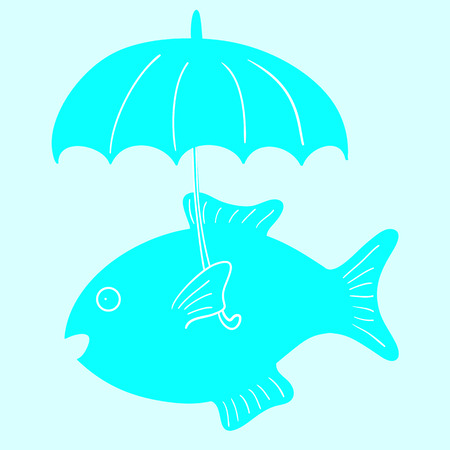 Cute celadon fish with umbrella on light blue background. May be used as baby shower invitation or menu decoration
