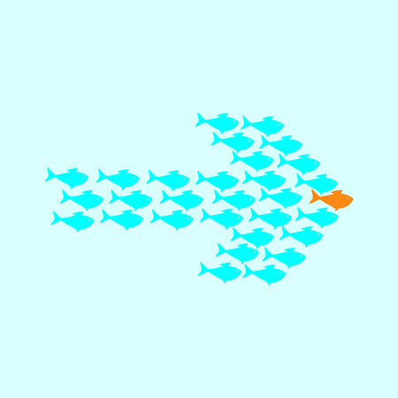 celadon: School of cute celadon fish swimming in shape of arrow behind its gold fish leader. Concept of success and business achievements Illustration