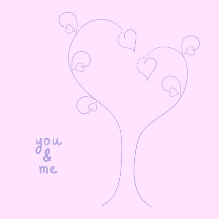 greeting stylized: Wedding or St Valentine`s day invitation or greeting card with stylized tree and leaves in the shape oh hearts on it and space for you text Illustration