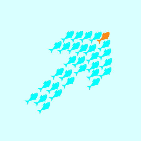 celadon: School of cute celadon fish swimming in shape of up arrow behind its gold fish leader. Concept of success and business achievements
