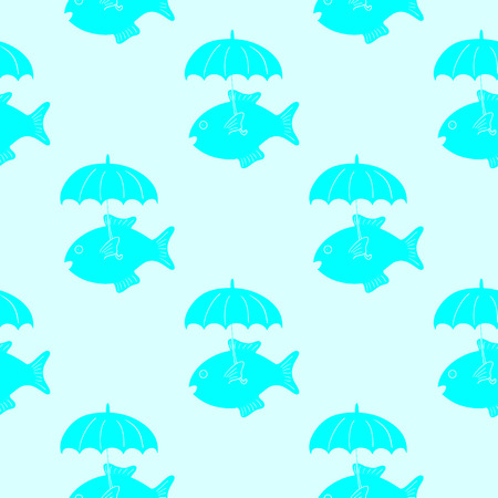 celadon: Cute celadon fish with umbrella pattern on light blue background. May be used as baby shower invitation, menu decoration, wrapping paper or wallpaper Illustration