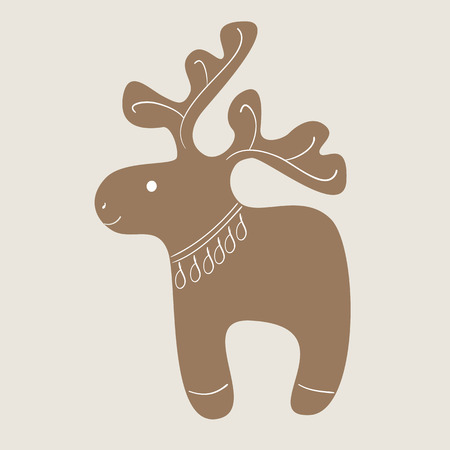 christmas cookie: Christmas decorated reindeer cookie on beige background