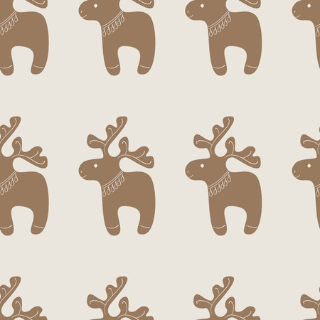 christmas cookie: Seamless pattern with Christmas decorated reindeer cookie on beige background Illustration