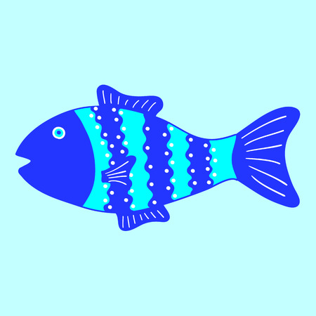 celadon: Cute colorful patterned fish isolated on light blue background. May be used as baby shower invitation or menu decoration Illustration