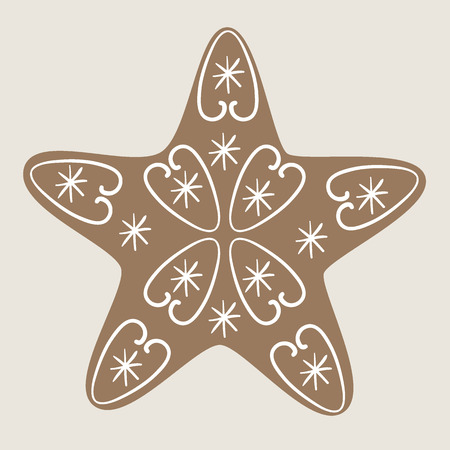 christmas cookie: Christmas star cookie decorated with vignettes and snowflakes on beige background