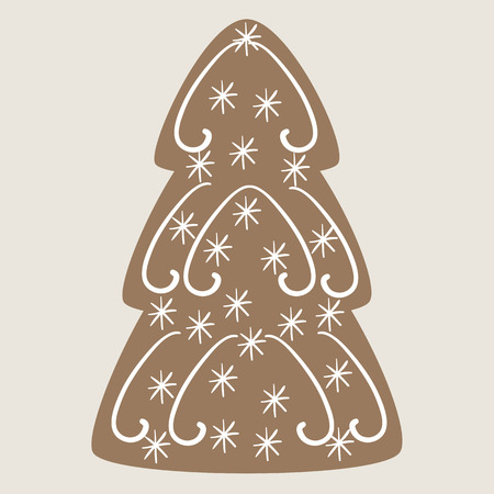 vignettes: Christmas tree cookie decorated with vignettes and snowflakes on beige background Illustration