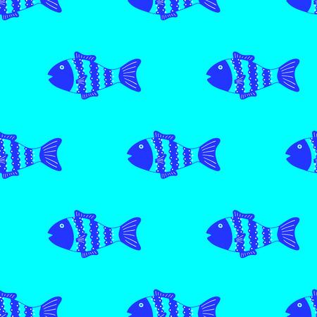 celadon: Cute colorful fish seamless pattern light blue background