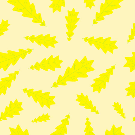 Yellow oak leaf with light green veinlets seamless pattern on light yellow background Vector